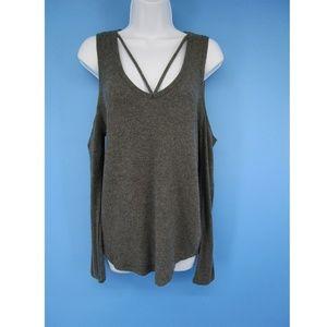 LNA Cold Shoulder Strappy V Gray Top Size S 4853